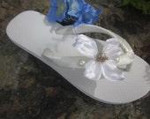 Flip Flop/Wedges and Sandals for Bride,Bridesmaids.Beach Wedding.Ivory Flip Flops.Destination Wedding. Flower Flip Flops.