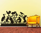 Vinyl Wall Decal Sticker Art - The Animal Band - Silhouette of Frolicking Animals