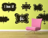 Vinyl Wall Chalkboard Decal Sticker Art - Retro Style Sign Shapes - set of 6