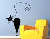 Vinyl Wall Decal Sticker Art - Curious Pussy Cat -  wall Mural