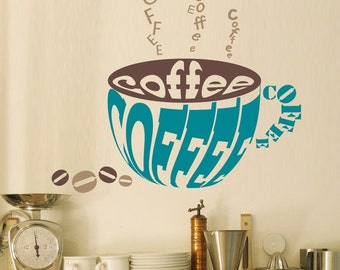 Coffee wall decal - kitchen, office, coffee shop decor