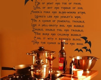 Boil Boil Toil and Trouble -Vinyl Wall Decal Sticker Art  - Halloween Decoration