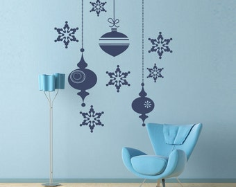 Retro Ornaments Wall Decal Sticker set - Holiday Decorations - snowflakes decal
