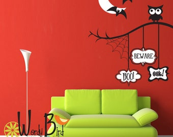 Boo Beware Eek - Halloween wall decal Decorations - 2 color version