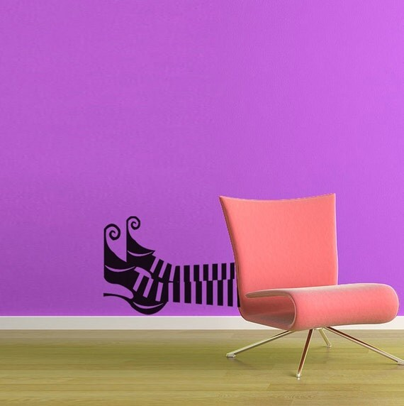 Vinyl Wall Decal Sticker Art -Witch Feet - Halloween Decoration - one color version