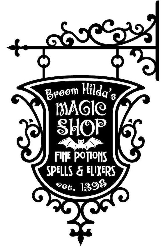 Broom Hildas Magic Shop Sign Wall Decal By Wordybirdstudios