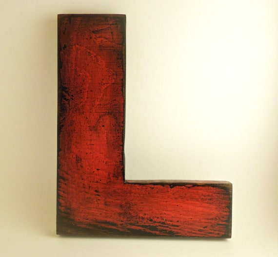 Wooden letters made from reclaimed plywood, letter L