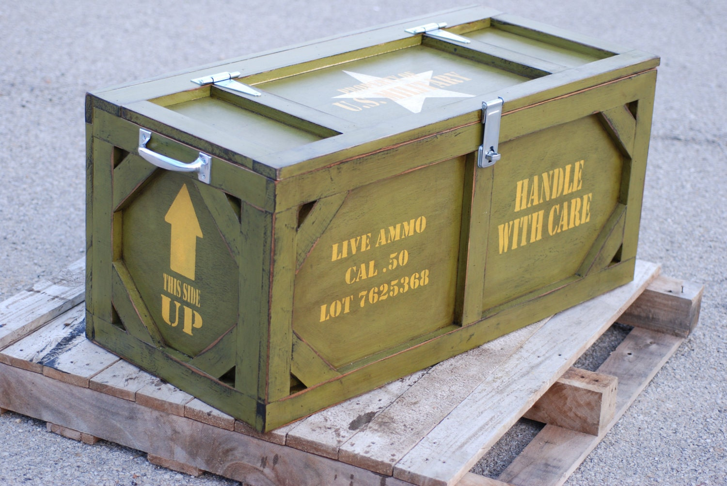 Toy box crate furniture military ammo box