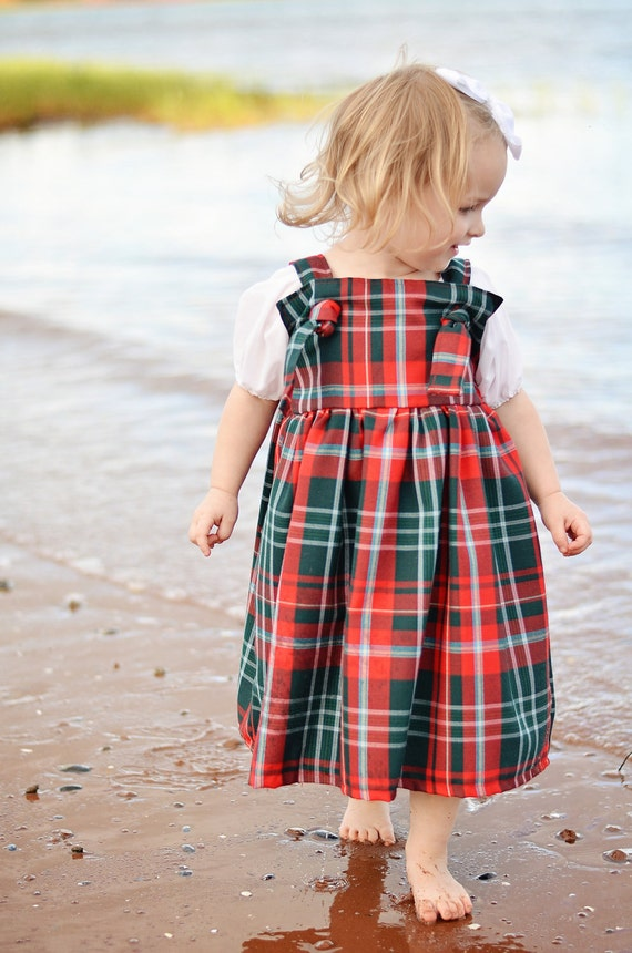 Celtic Scottish Tartan Plaid Red and Green New Brunswick Apron Knot Dress for toddler, baby, girl