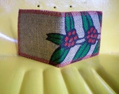 Vegan Wallet, Reclaimed Burlap Wallet Made From Coffee Bean Sacks- Ready to ship-