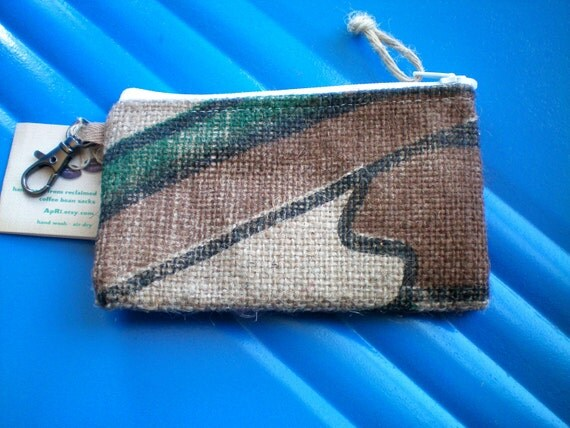 UpCycled Vegan Zip Pouch Made From Coffee Sacks- Ready to Ship
