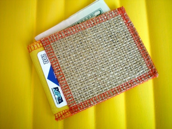 Vegan Wallet - Small Card Wallet-Yellow and Red- Made from Coffee Sacks- Ready to Ship