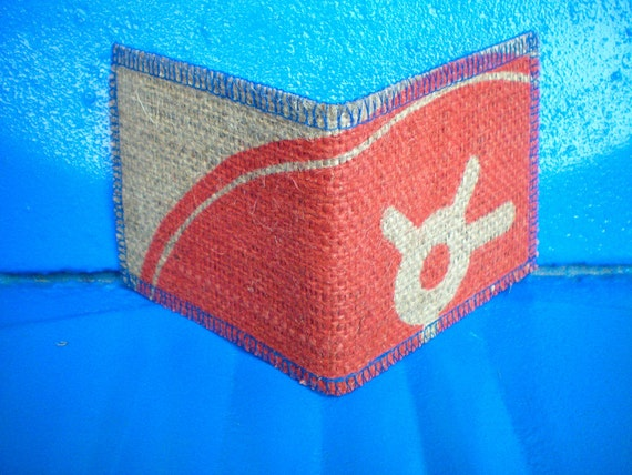 Vegan Wallet, Recycled Burlap Wallet Made From Coffee Bean Sacks- Ready to ship- Red- Bird- blue brown