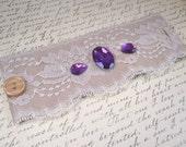 Small Ivory and Purple Lace Bracelet Cuff, Fabric Bracelet with Purple Rhinestones - Victorian Cuff - Wedding Romantic Cuff - 50% Off