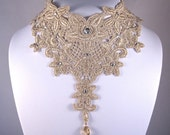 Statement Necklace Jewelry, Lace Choker, Gold Bridal Necklace, Lace Collar- 30% OFF - JOSEPHINE