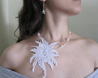 bridal lace necklace, swarovski pearl necklace, white lace necklace- 50% OFF - ALEIDA