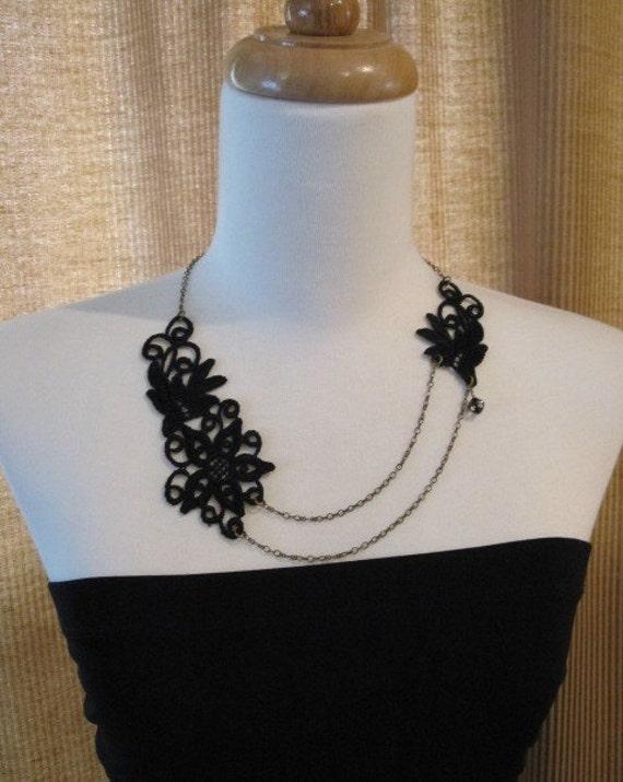 Celestina Venice Lace and Brass Chain Necklace