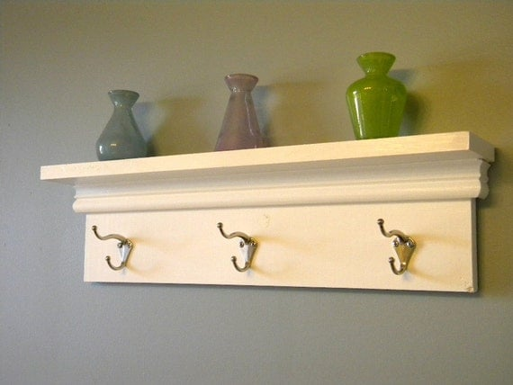 items similar to wall shelf with hooks on etsy. Black Bedroom Furniture Sets. Home Design Ideas