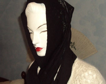 Beautifully SteamPunk Soft and Feminine Black Lace Infinity Scarf Snood Lady in Mourning