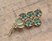 Vintage Czech Flower Brooch - Blue and Green