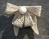 Reserved for Carol - White Lacey Plastic Bow Brooch