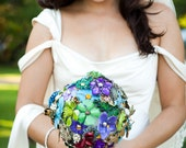Custom Large Colorful Brooch Bouquet Handcrafted in USA - Made in Ohio - Designer Bouquet - Alternative Lasting Bouquet - Made To Order