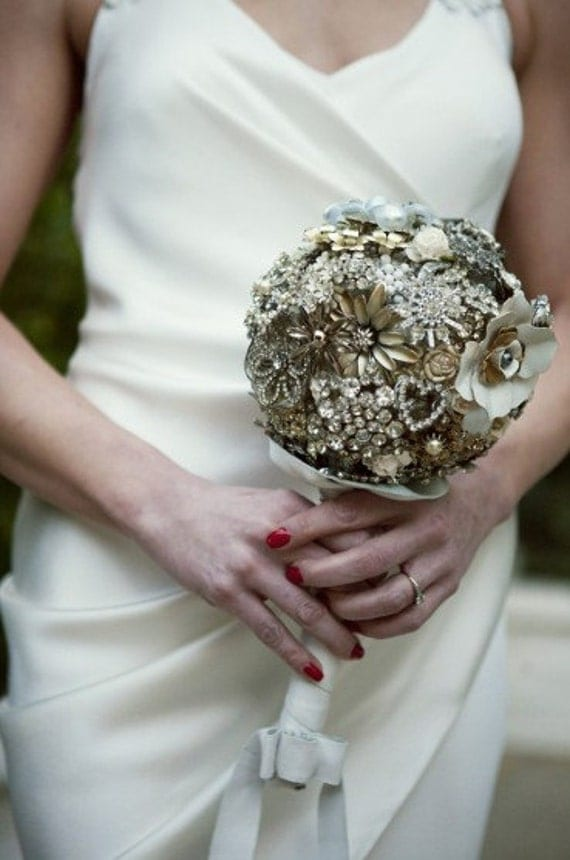 Brooch Bouquet Custom Large Bling Crystal Bridal Jeweled