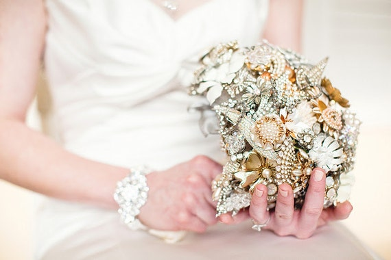 Custom Extra Large Heart Shaped Brooch Bouquet - Made To Order - Over The Top Statement Bling Crystal Bridal Bouquet Accessory Statement