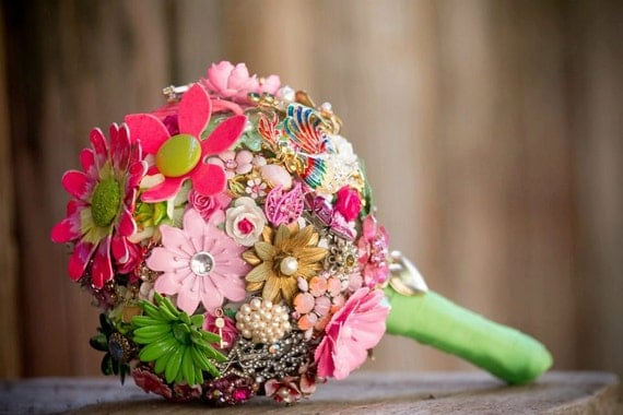 Brooch Bouquet - Colorful Custom Modern Jewelry Heirloom Bouquet - Medium Size - Perfect Bridal Statement Accessory - Lasts Forever