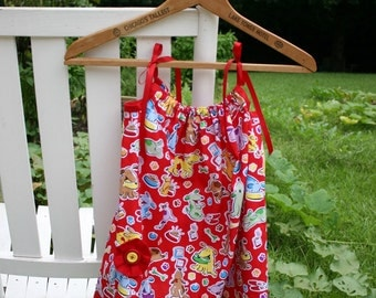Pillowcase Dress, Red Puppy Dress, Toddler's Cute Summer Dress, Cotton Dress
