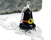 Halloween Necklace Black Witch Hat Sterling Silver