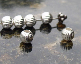 Sterling Silver Beads Round Corrugated 6mm Qty 10