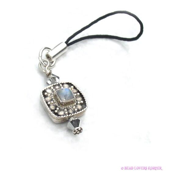 Rainbow Moonstone Zipper Pull Sterling Silver