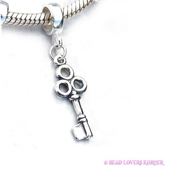 Skeleton Key Charm Bead Dangle Sterling Silver