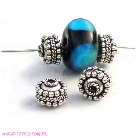 Exotic Turkish Silver Beads 6mm x 8mm (4)