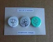 Flower Pinback Buttons- Set of 3