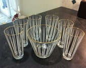 Mid Century Modern Glassware Set with Matching Ice Bucket