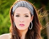 Black and white houndstooth fabric headband