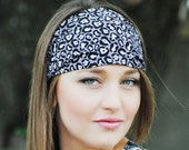 Gray black and white cheetah animal print fabric headband
