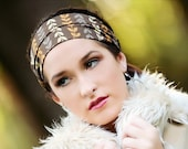 Brown with floral vine fabric headband