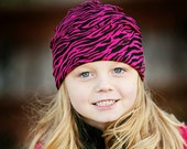 Animal print hot pink and black zebra cotton knit hat