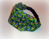 Green peacock fabric headband
