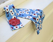 Shabby Flower blue red and white hair tie wrap sash fabric tie headband