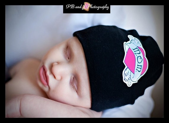 Mom/Dad Heart Tattoo...Cotton Knit Cap ......Infant Toddler...Baby ButtonTops