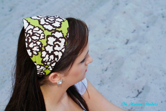 Headband...green with large white and brown flower print