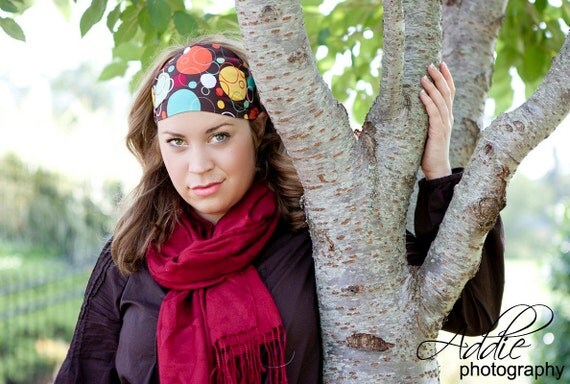 Headband...brown with multi colored dots