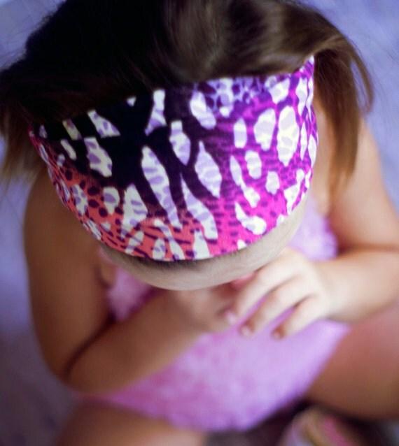 Animal print headband...pink purple and black