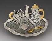 Coffee Brooch Pin silver gold