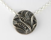 Antique Button Necklace Flower Silver Pearl