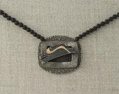 Leaping Rabbit Necklace Fine Silver Bunny Swoosh Stripe